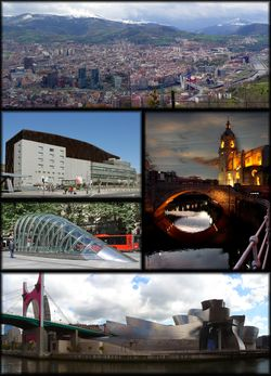 Clockwise from top: Panorama from mount Artxanda, church of San Antón, Bilbao Guggenheim Museum, Fosterito, and Euskalduna Palace