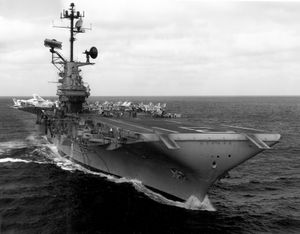 Aircraft carrier at sea.