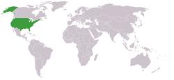 خريطة توضح موقع الولايات المتحدة وإسرائيل