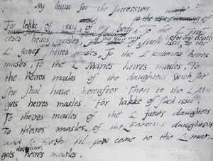 A letter written in pen and ink, with irregular writing and several alterations