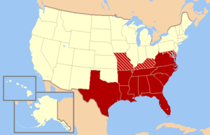 map of United States with southeastern states highlighted in shades of red