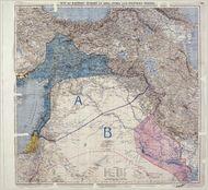 خريطة اتفاقية سايكس بيكو. تم الكشف عنها في رسالة پول كامبون إلى السير إدوارد گراي، 9 مايو 1916.