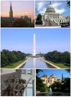 Top left: Georgetown University; top right: U.S. Capitol; middle: Washington Monument; bottom left: African American Civil War Memorial; bottom right: National Shrine