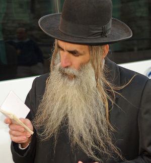 Orthodox Jew in Jerusalem with a beard and peyos (sidelocks)